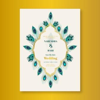 Hochzeitseinladungsschablone mit pfaufedern
