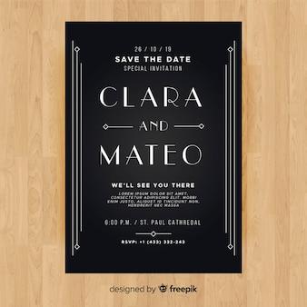 Hochzeitseinladungsschablone mit reizendem art deco design