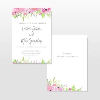 Hochzeitseinladungsschablone mit rosa blumen
