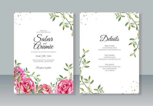 Hochzeitseinladungsschablone mit rosenaquarellmalerei