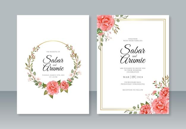 Hochzeitseinladungsschablone mit rosenblumenaquarellmalerei