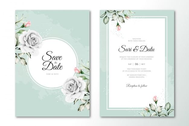Hochzeitseinladungsschablone mit schönem blumenaquarell