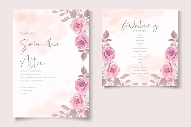 Hochzeitseinladungsschablone mit schönem blumenmuster Premium Vektoren