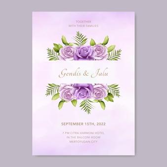 Hochzeitseinladungsschablone mit schönem lila blumenaquarell