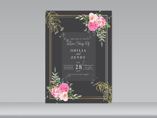 Hochzeitseinladungsschablone mit schönen blumenthemen