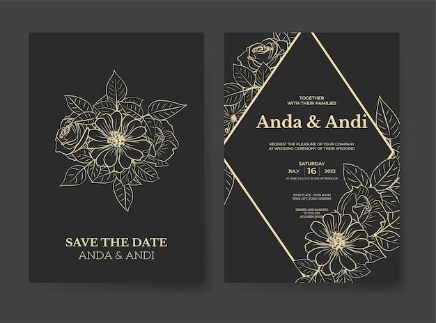 Hochzeitseinladungsschablone mit schöner umrissblume