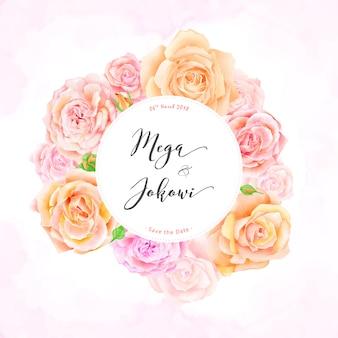 Hochzeitseinladungsschablone mit schönen Rosen blüht