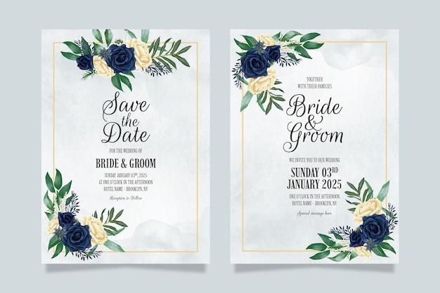 Hochzeitseinladungsschablone mit staubiger aquarellblumenkomposition