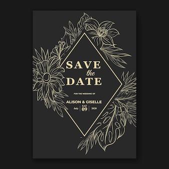 Hochzeitseinladungsschablone mit tropischem blumenumriss der monstera