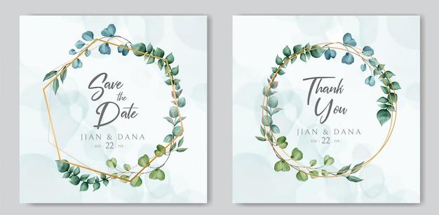 Hochzeitseinladungsschablone und speichern sie die datumskarte mit aquarellblumen auf goldenem rahmen