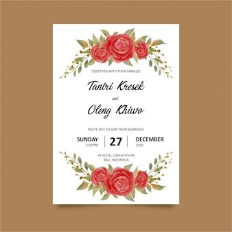 Hochzeitseinladungsschablonen mit aquarellartblumenrahmen