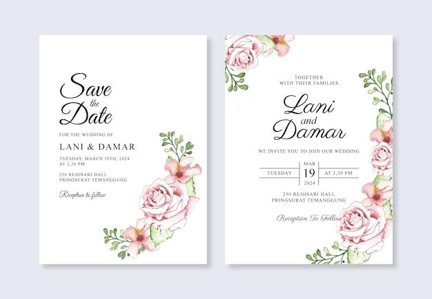 Hochzeitseinladungsschablonen mit aquarellblumen