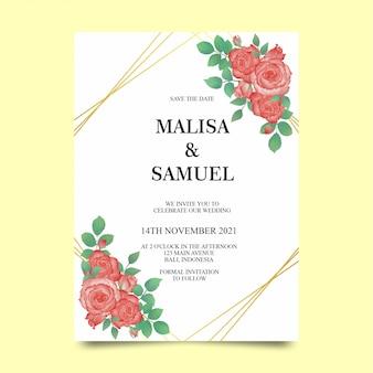 Hochzeitseinladungsschablonen mit aquarellblumendekorationen