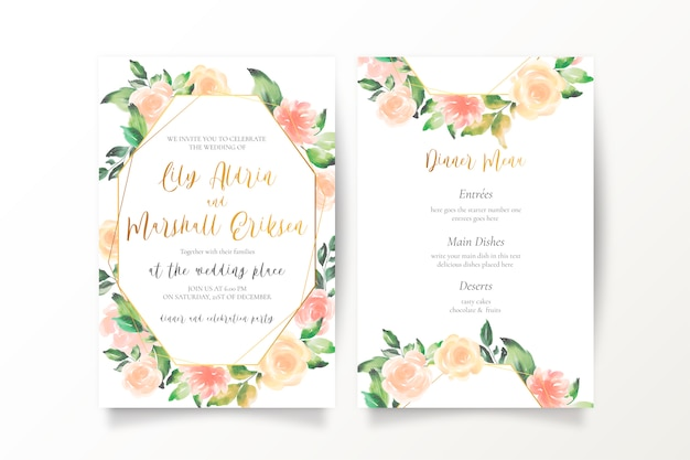 Hochzeitseinladungsschablonen mit blumen in den pfirsichfarben