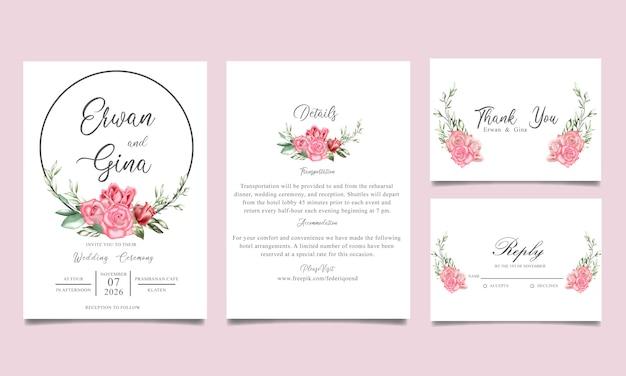 Hochzeitseinladungsschablonenkartendesign mit aquarell mit blumen und blättern