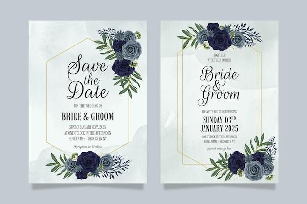 Hochzeitseinladungsschablonensatz mit aquarellblumenentwurfskonzept