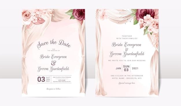 Hochzeitseinladungsschablonensatz mit aquarellbogen und blumenrosen