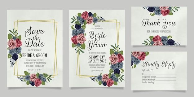 Hochzeitseinladungsschablonensatz mit blumenaquarellrosenentwurf