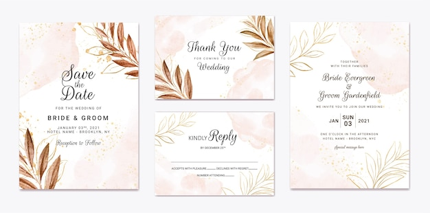 Hochzeitseinladungsschablonensatz mit brauner blattdekoration.