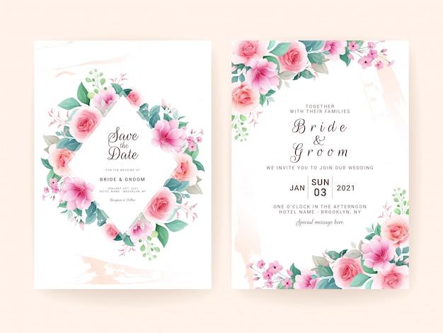 Hochzeitseinladungsschablonensatz mit buntem blumenrahmen. rosen und sakura blumen zusammensetzung