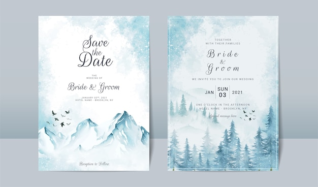 Hochzeitseinladungsschablonensatz mit gefrorener landschaftsszene der berge