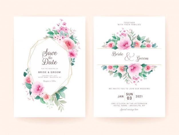 Hochzeitseinladungsschablonensatz mit geometrischem blumenrahmen. rosen und sakura blumen zusammensetzung
