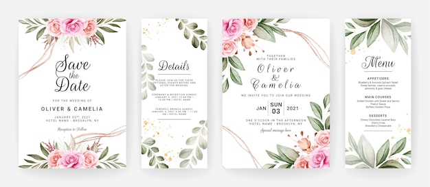 Hochzeitseinladungsschablonensatz mit lila und braunen rosenblumen- und blattdekoration.