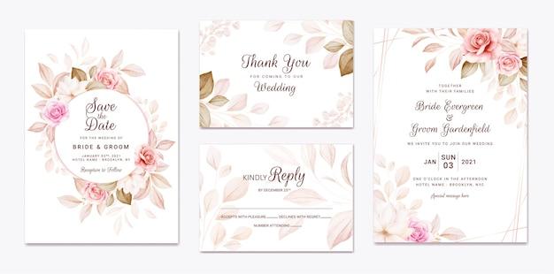 Hochzeitseinladungsschablonensatz mit pfirsich- und braunen rosenblumen- und blattdekoration.