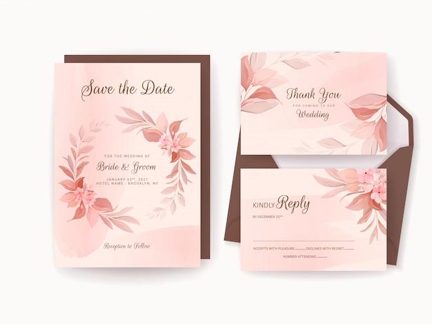 Hochzeitseinladungsschablonensatz mit romantischem blumenrahmen und aquarell. rosen und sakura blumen zusammensetzung