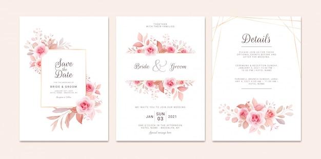 Hochzeitseinladungsschablonensatz mit romantischem blumenrahmen und goldlinie. rosen und sakura blumen zusammensetzung