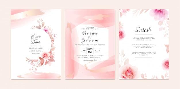 Hochzeitseinladungsschablonensatz mit romantischem blumenrahmen und goldpinselstrich. rosen und sakura blumen zusammensetzung
