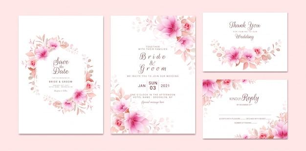 Hochzeitseinladungsschablonensatz mit romantischem blumenrahmen und grenze. rosen und sakura blumen zusammensetzung
