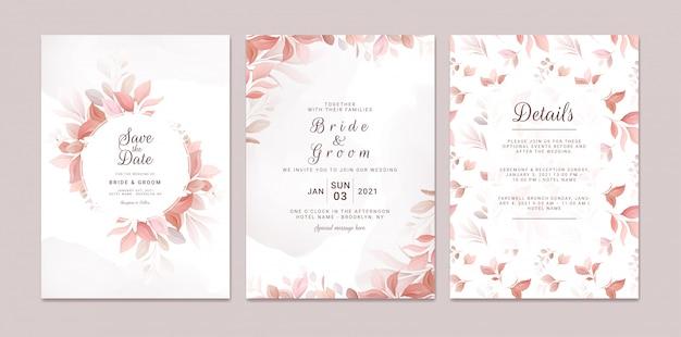 Hochzeitseinladungsschablonensatz mit romantischem blumenrahmen und -muster. rosen und sakura blumen zusammensetzung