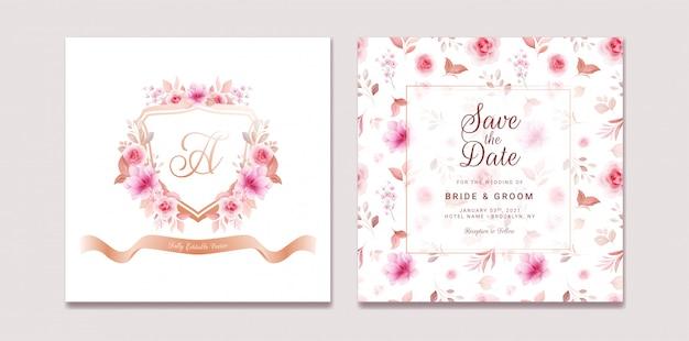 Hochzeitseinladungsschablonensatz mit romantischem blumenwappen und -muster. rosen und sakura blumen zusammensetzung