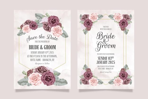 Hochzeitseinladungsschablonensatz mit staubigen aquarellrosen verlässt dekorationskonzept
