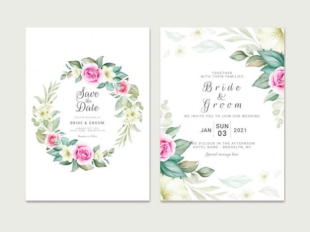 Hochzeitseinladungsschablonensatz mit weichem aquarellblumenkranz und randdekoration. botanische illustration für kartenkompositionsentwurf