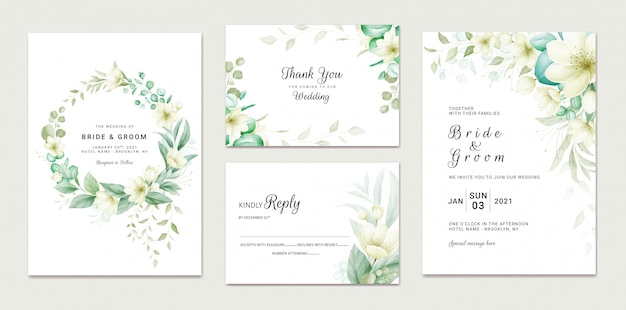 Hochzeitseinladungsschablonensatz mit weichem aquarellblumenrahmen und randdekoration. botanische illustration für kartenkompositionsentwurf