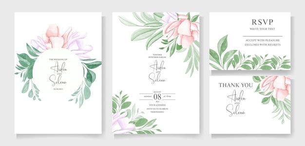 Hochzeitseinladungsschablonensatz mit weichem grünem aquarellblumenrahmen und randdekorationsbotanik
