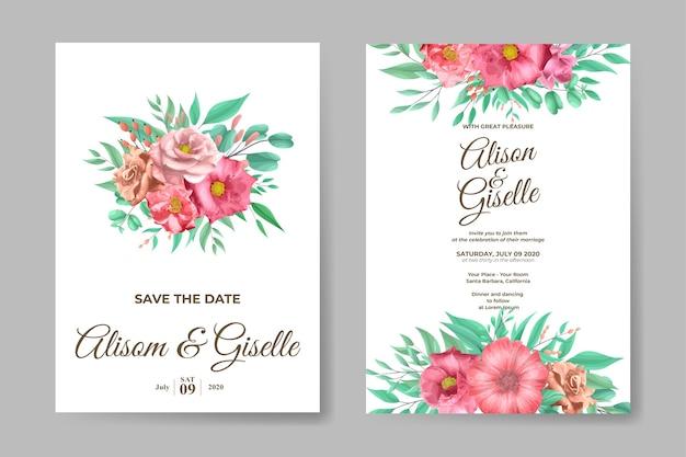 Hochzeitseinladungsschablonensatz mit weicher rosenblume