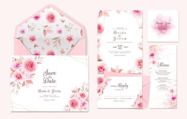 Hochzeitseinladungsschablonensuite mit blumenrand, muster. rosen und sakura blumen zusammensetzung