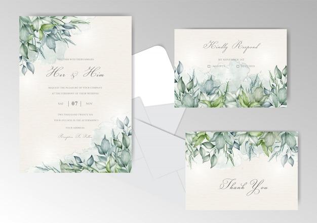 Hochzeitseinladungsset mit elegantem laub und grünaquarell