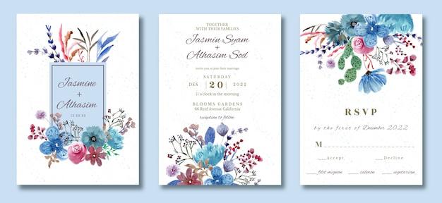 Hochzeitseinladungsset mit hübschem blumenaquarell