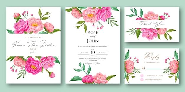 Hochzeitseinladungsset mit rosa blumenaquarell