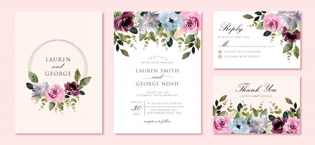 Hochzeitseinladungsset mit schönem blumengartenaquarellrahmen
