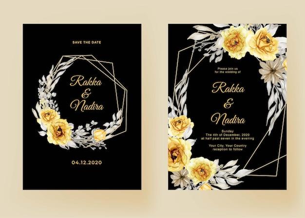 Hochzeitseinladungsset sonnenblumenaquarellrahmen Premium Vektoren