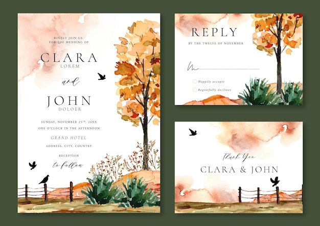 Hochzeitseinladungsvorlage aquarell grüner park mit vögeln und abstraktem hintergrund