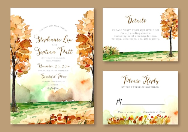 Hochzeitseinladungsvorlage aquarell landschaft von gelben bäumen herbst thema