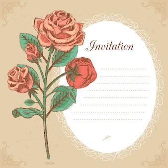 Hochzeitseinladungsweinlese, speichern sie das datum oder danken sie karte mit rotem rosenvektor