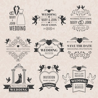 Hochzeitsetiketten im viktorianischen stil. einfarbige bilder für abzeichen oder logos