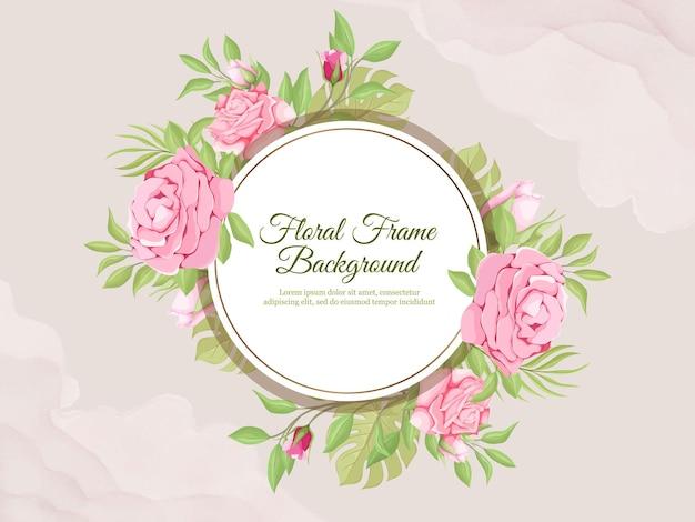 Hochzeitsfahnenhintergrund mit rosen und blättern